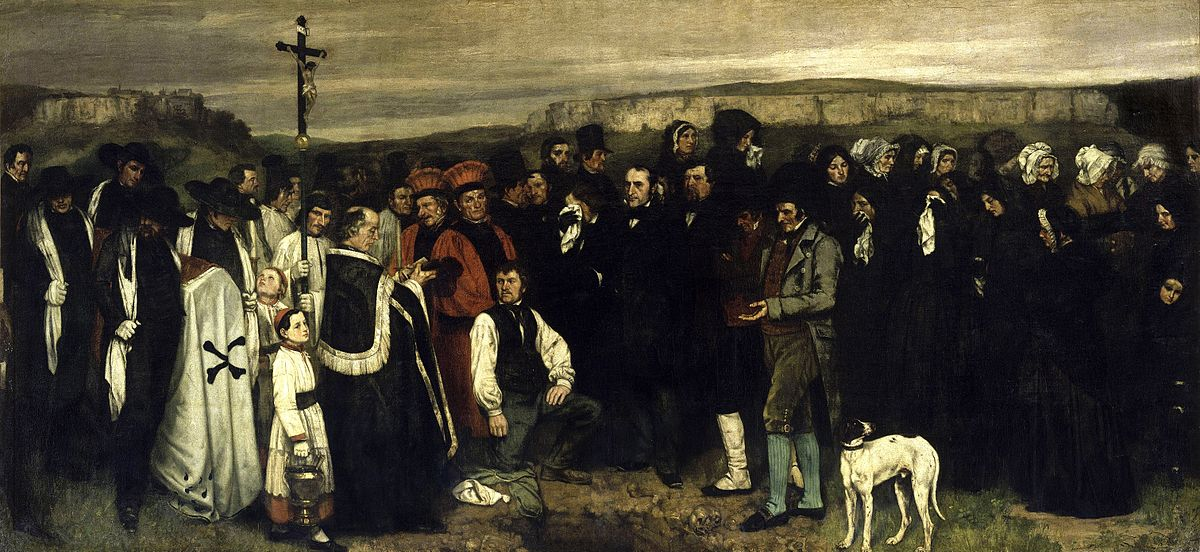 A Burial at Ornans, Gustave Courbet, 1849-50, oil on canvas, 315 x 668 cm (124 x 263 in.), Musee d'Orsay, Paris, France.