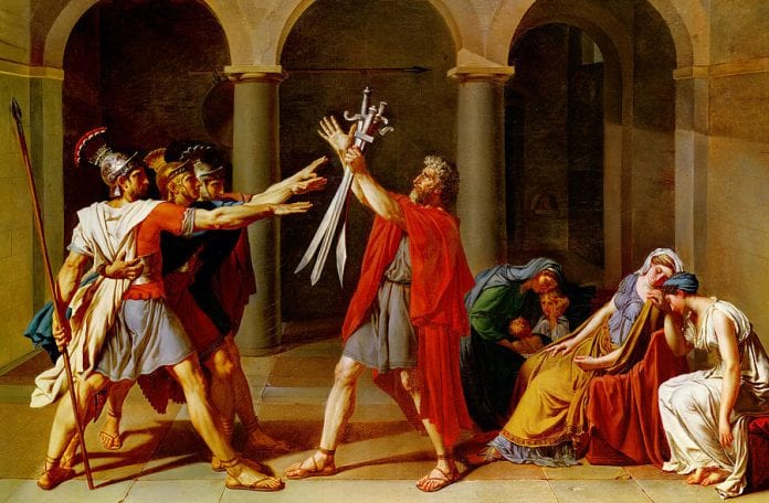 Oath of the Horatii - Napoleon Crossing the Alps