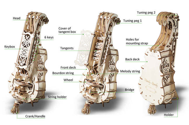 UGears Mechanical Models 3-D Wooden Puzzle - Hurdy-gurdy