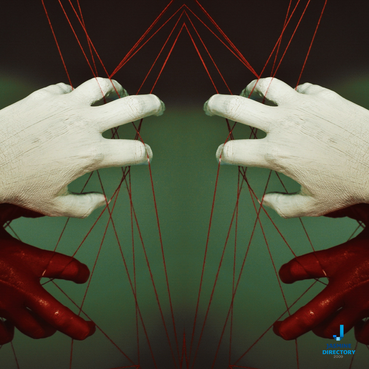 Two pairs of hands painted in white and red on green blackground