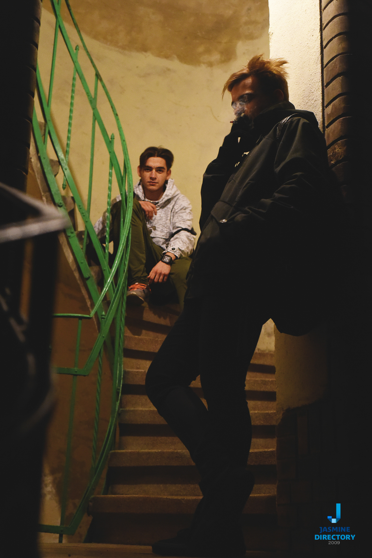 Two young man on stair