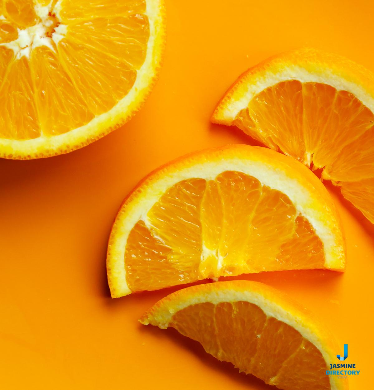 Slices of Orange on an orange background
