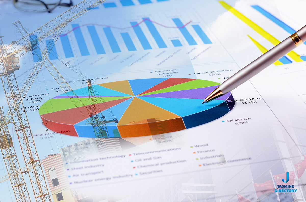 Business report image with multicolored chart