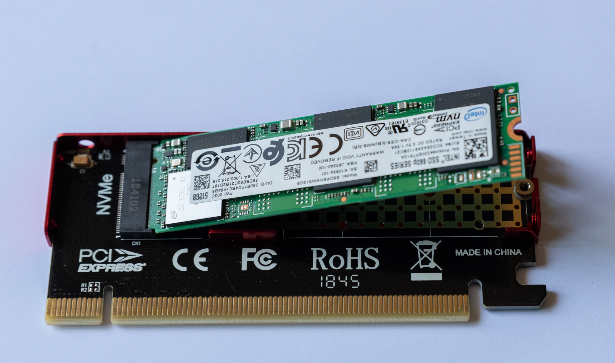 M.2 ssd in Axagon PCIE NVME M.2 ADAPTER