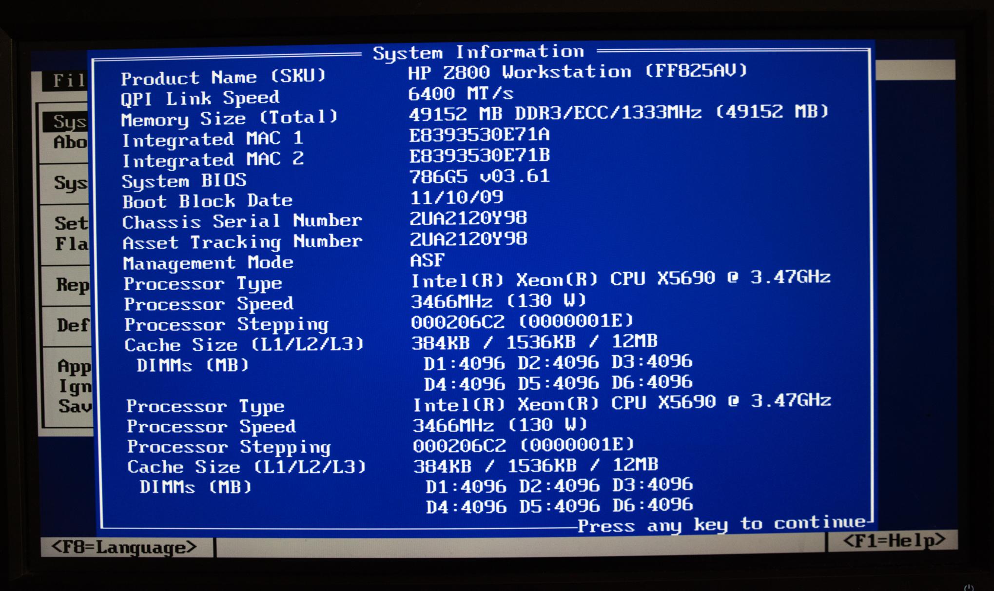 HP Z800 BIOS 03.61