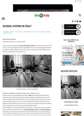 School System in Italy