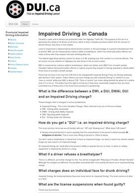 DUI: Impaired Driving Charges in Canada
