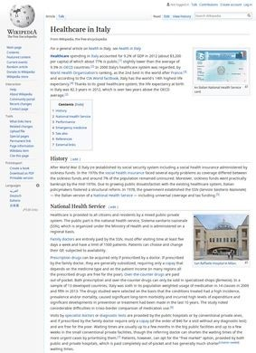 Wikipedia: Hospitals and Healthcare in Italy