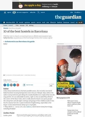 The Guardian: Top 10 Barcelona Hotels