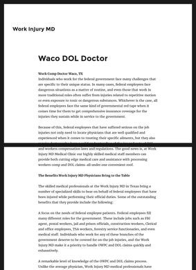 Work Injury MD: Waco DOL & Federal Workers Comp Doctors