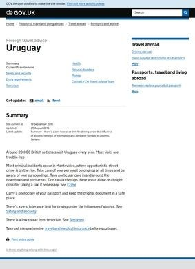 Foreign and Commonwealth Office: Uruguay