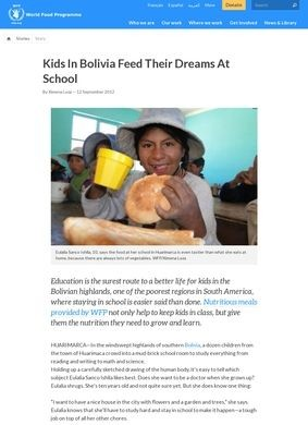 Kids In Bolivia Feed Their Dreams At School