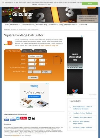 The Calculator Site: Square Footage Calculator