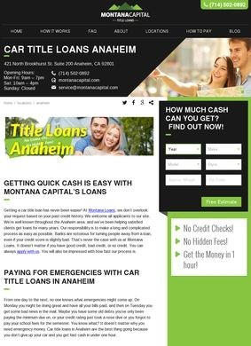 Montana Capital: Car Title Loans Anaheim