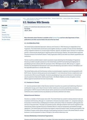 U.S. Relations With Slovenia