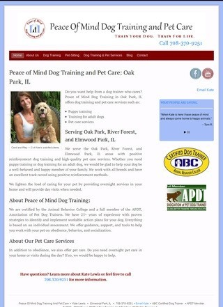 Peace Of Mind Dog Training And Pet Care