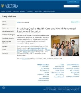 Department of Family Medicine - University of Rochester Medical Center