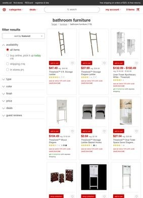 Target: Bathroom Furniture