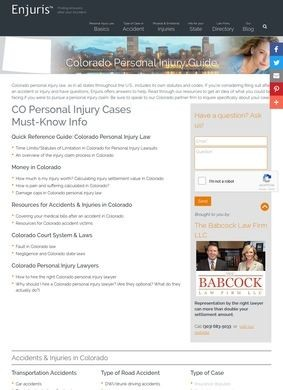 Colorado Accidents & Injuries Guide